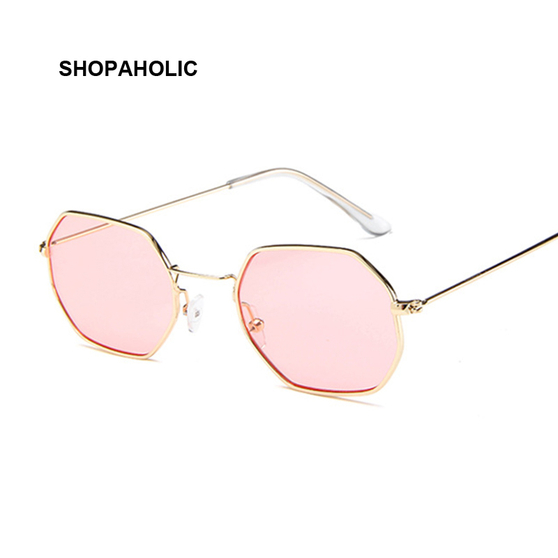 Fashion Sunglasses Women Brand Designer Small Frame Polygon Clear Lens Sunglasses Vintage Sun Glasses Hexagon Metal Frame