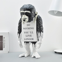 Banksy Statue Artwork Monkey Sign Do Nothing You'll Live Longer Home Decoration Accessories Modern Ornaments