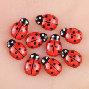 BOLIAO 30Pcs 10*15mm Beetle Red&Black Spot Acryl Flat Back Handmade Art Work Glue on Bags/Clothes Decoration Craft DIY R312
