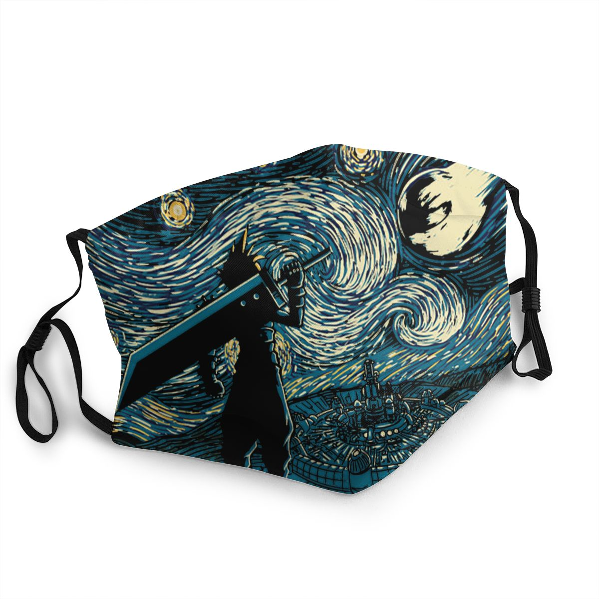 Starry Fantasy Van Gogh Final Fantasy Unisex Reusable Mouth Face Mask Game Anti Haze Dustproof Protection Cover Respirator