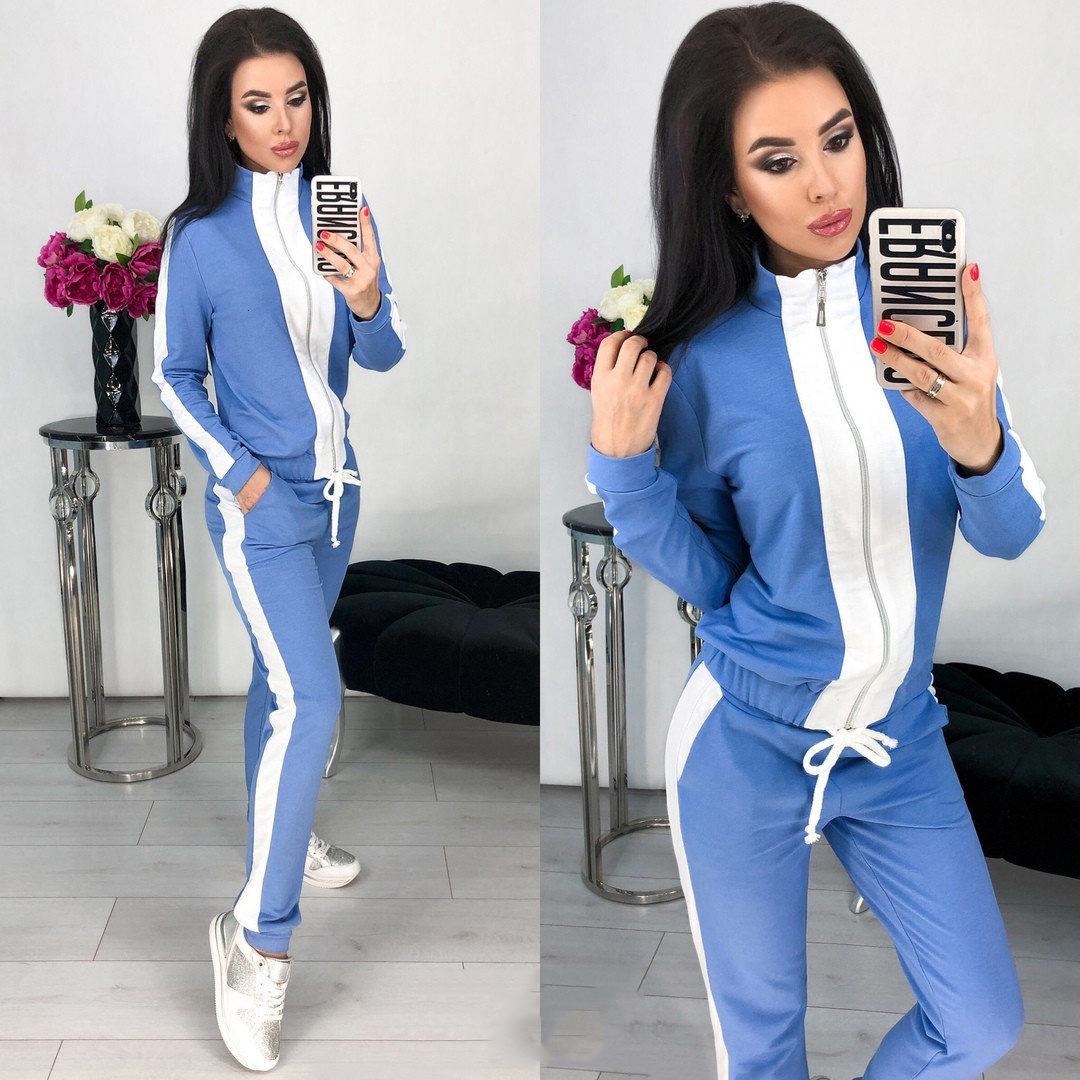 Blue Long Sleeve 2 Piece Fall Set Tracksuit For Women Outfits Zipped Top Pant Suit Matching Co-ord Winter Luxury Set Clothing