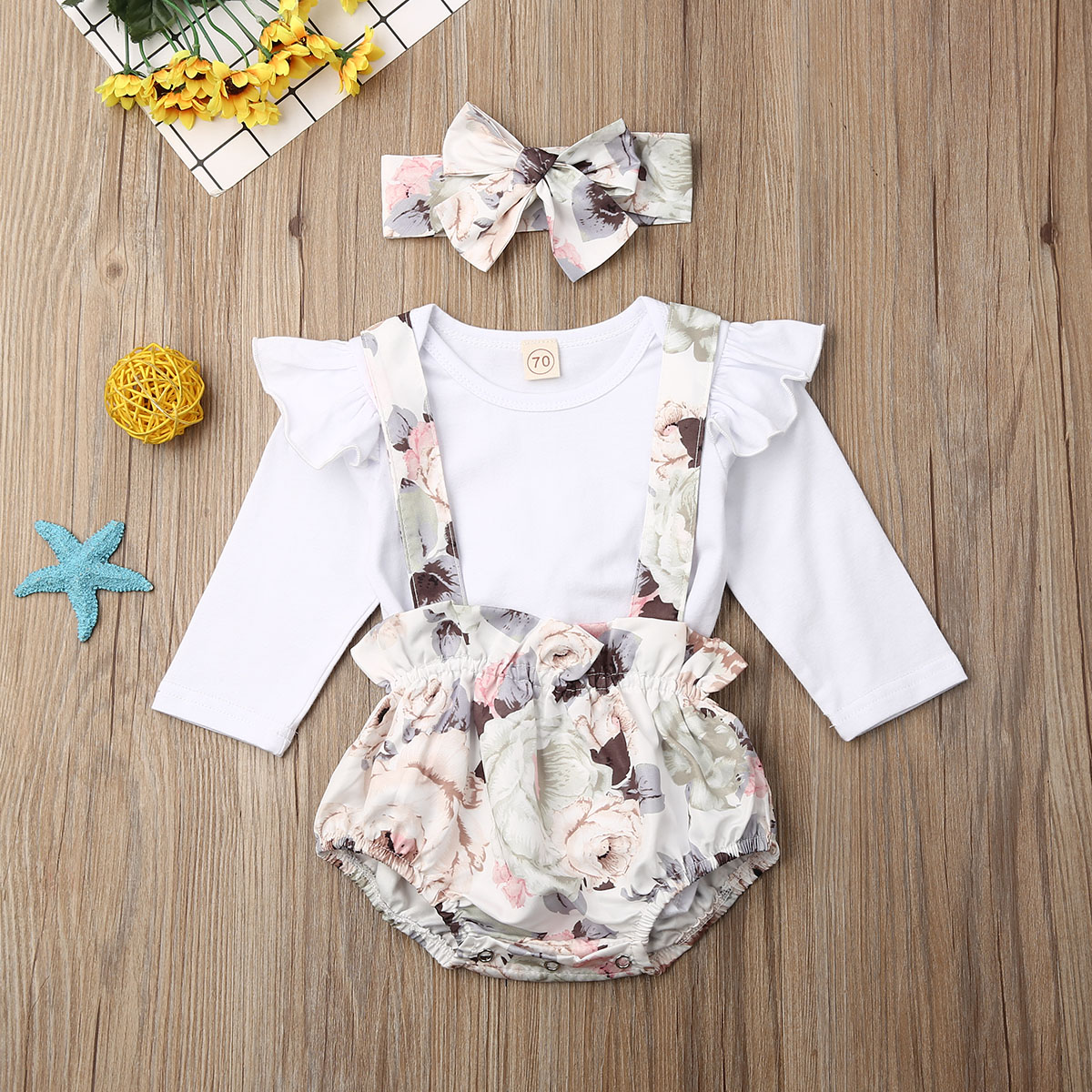 Pudcoco Newborn Baby Girl Clothes Solid Color Long Sleeve Romper Tops Strap Flower Print Short Pants Headband 3Pcs Outfits Set