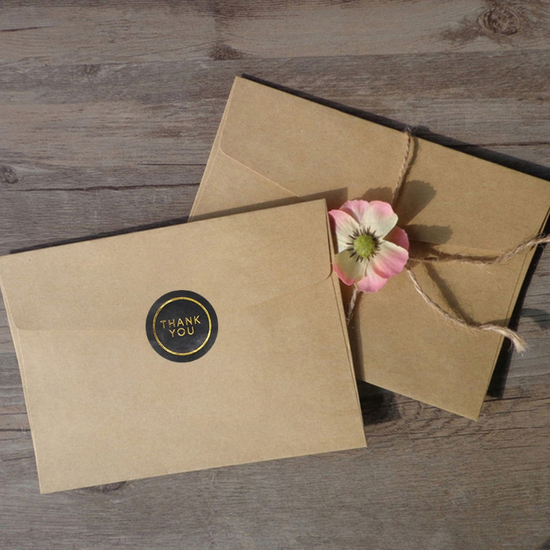 50 Sheets 600Pcs Shiny Gold Thank You Stickers Round Circle Black Adhesive Seal Labels for Envelope Gift Wrap DIY Decor