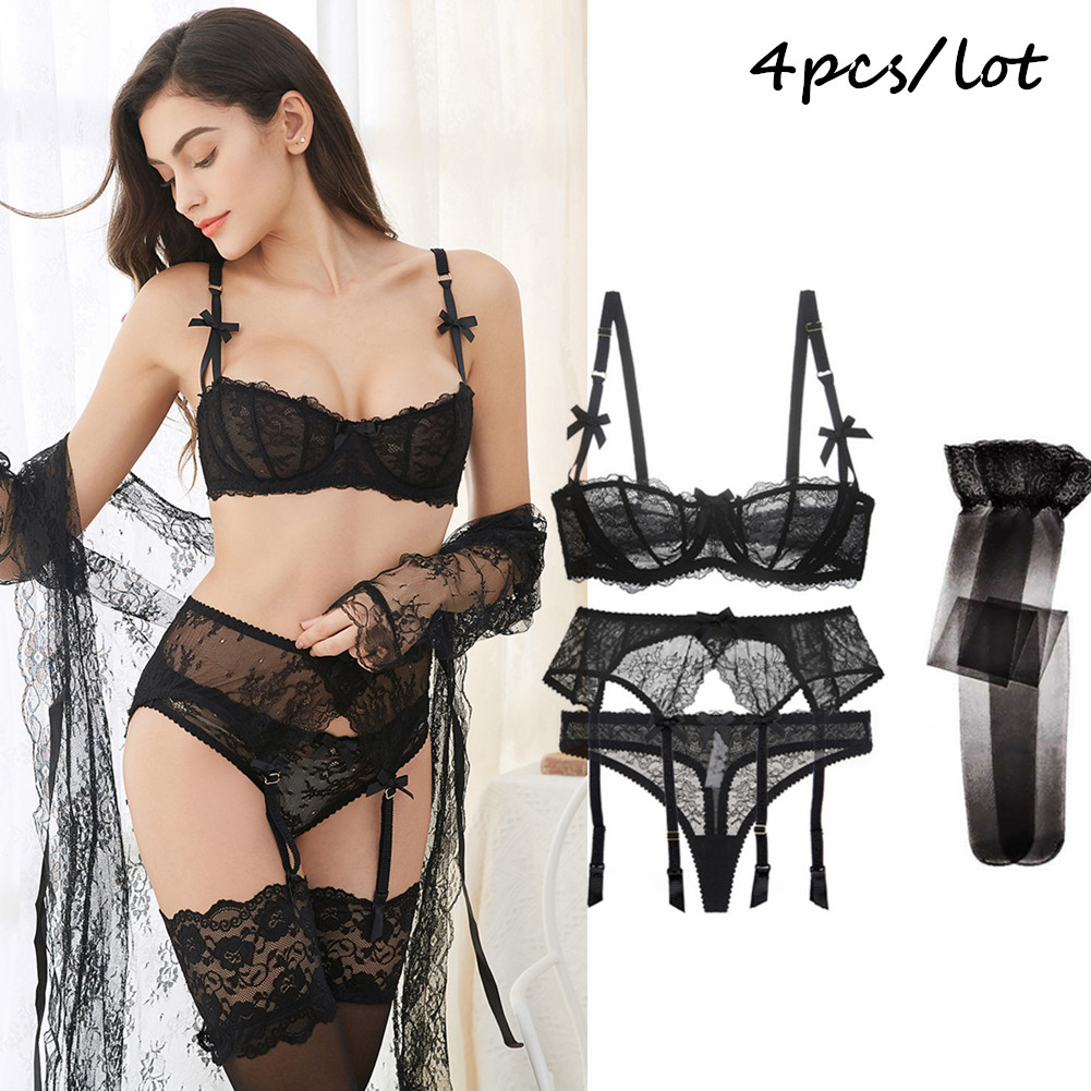 Luxury Half Cup Lace Transparent Ultra-thin Solid Lolita Style  4 Pieces/Lots Bra Set And Garter And Stocking