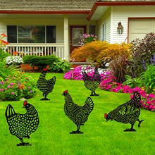 5Pc Easter Chicken Metal Hen for Easter Gardening Ornaments Yard Iron Art Outdoor Garden Backyard Lawn Stakes Garden Hen Large#G