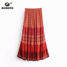 ROHOPO Vintage High Waist Daisy Floral Patchaork Maxi Midi Skirt Ruffled Red Accordion Retro Paillettes Cotton Falda #8510