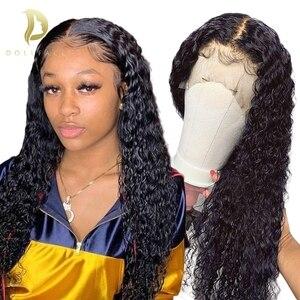 curly human hair wig water wave lace front human hair wigs for Black Women brazilian hd short bob frontal deep 30 inch full long(China)