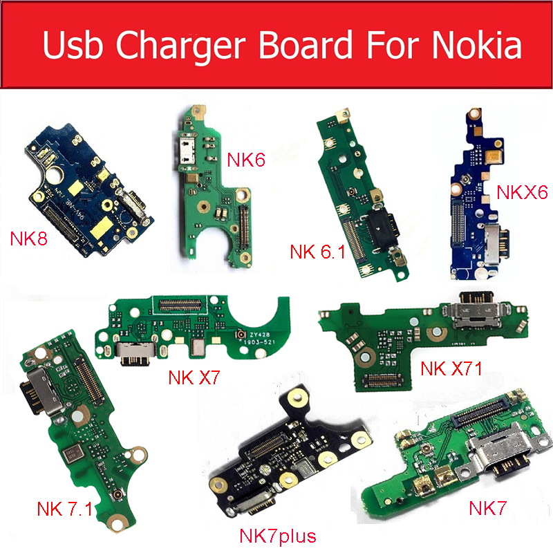 USB Charger Board With Microphone For Nokia 6 6.1 7 8 7.1 Plus X6 X7 X71 Mic Charging USB Jack Plug Board Replacement Parts