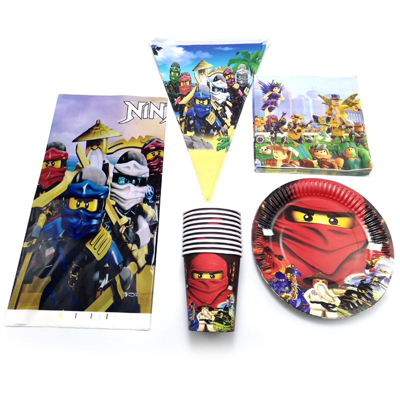 51pcs/lot Ninjago Theme Plates Cups Baby Shower Tablecloth Napkins Flags Decoration Favors Birthday Party Banner Tableware Set