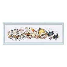 """""""الخوخ القط"""" الكرتون عد عبر الابره عدة 14ct 11ct قماش مطبوع قماش التطريز لتقوم بها بنفسك الإبرة عالية الجودة FishXX"""