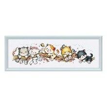 """Kit de dessin animé """"chat pêche"""", tissu imprimé, broderie, toile, broderies, haute qualité, FishXX, kit point de croix, 14ct, 11ct"""
