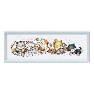 """Image 1 - """"Peach cat"""" Del Fumetto Contato kit punto croce 14ct 11ct tessuto stampato tela di canapa del ricamo cucito FAI DA TE di Alta Qualità FishXX"""