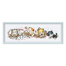 """""""Pfirsich katze"""" Cartoon Gezählt kreuz stich kit 14ct 11ct gedruckt stoff leinwand stickerei DIY hand Hohe Qualität FishXX"""