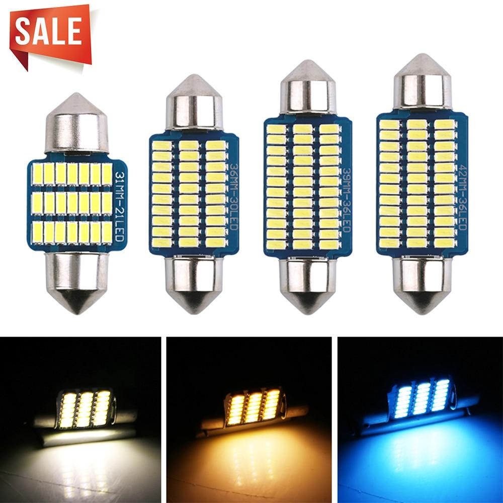 2 шт. гирлянда светодиодный C5W C10W 31 36-39-41 мм 4000 к 8000 автомобиля светодиодный лампы автомобиля лампа для чтения теплый белый голубой лед внутре...