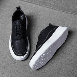 Casual-Shoes Sneakers Graffiti Hiking Men's Flats-Size Black Leisure 39-44