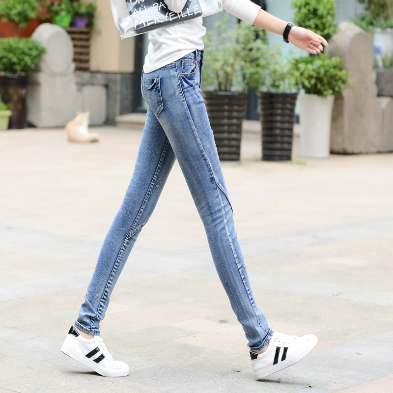 Korean-style Women's Jeans Stretch Slimming Skinny Pants Grinding Tattered Hole Cowboy Pants
