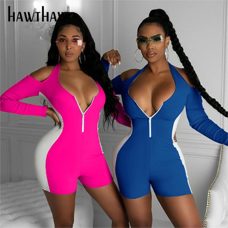 Hawthaw Women Autumn Long Sleeve Zipper Color Block Sportswear Workout Fitness Romper Playsuit Jumpsuit 2020 Fall Clothes