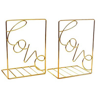 Bookends Gold   Decorative Metal Book Ends Supports for Shelves   Non Scratching (1 Pair)| |   -