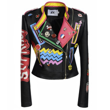 Jacket Graffiti Plus-Size Coat Outwear Motorcycle Women 3XL Rivet PU Beading Faux-Punnk