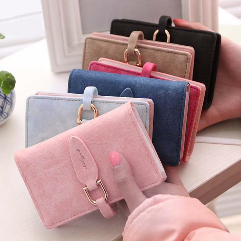 Women Wallet Candy Color PU Leather Purse Card Case ID Credit Card Holder Business Card Holder Bag Wallet High Quality 20 Card S in Wallets from Luggage Bags