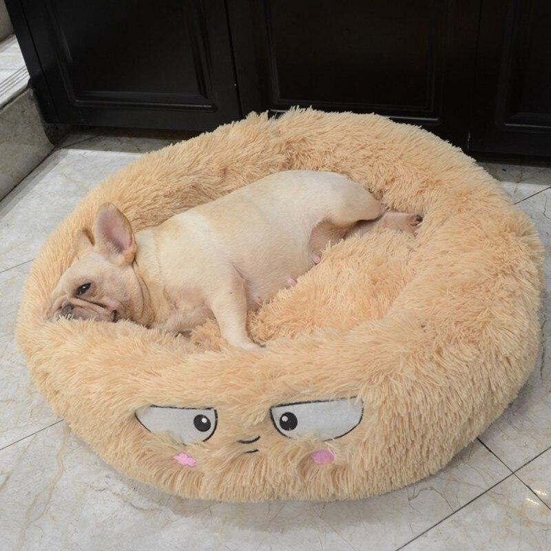 Pet Bed Super Soft Kennel Dog Round Cat Winter Warm Sleeping Mat Long Plush Puppy Cushion Mat Portable Pet House Cat Supplies 6