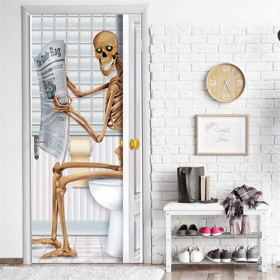 Skull Halloween Decoration Door Stickers 3D Bathroom Self Adhesive Wallpaper For Doors Removable PVC Poster DIY Renew Mural Deca