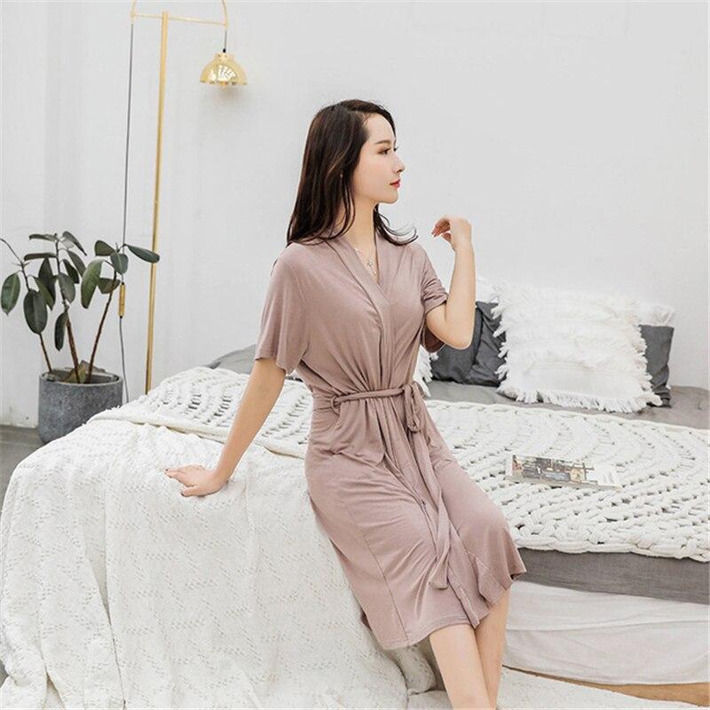 Robe Feminino Summer Short Sleeve Women Robe Modal Thin Loose Pajamas Cotton Home Clothes Vacation Bathrobes Night Robe 2020