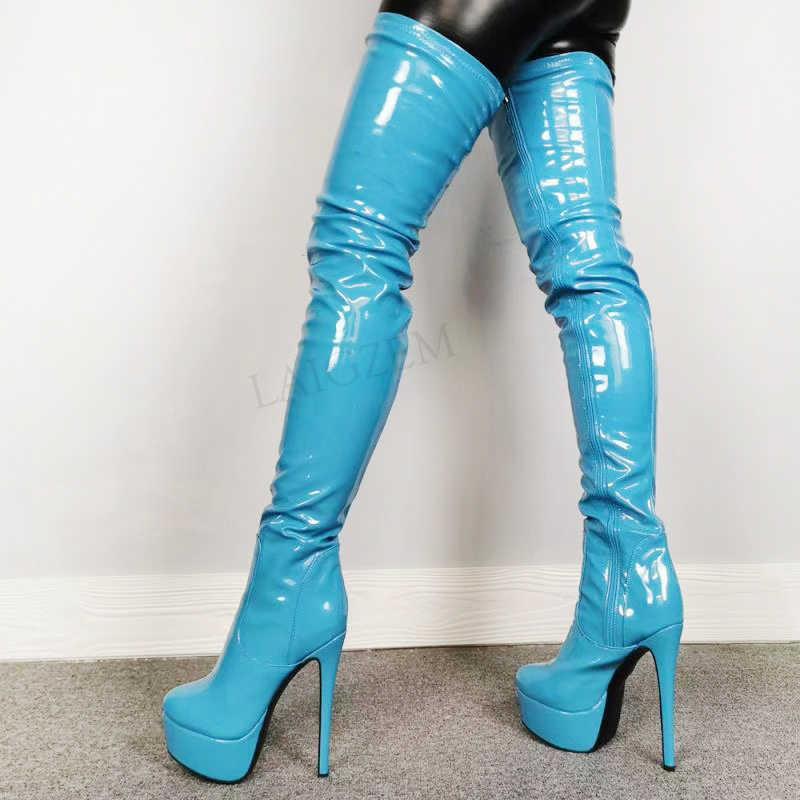 """BERZIMER Nữ Đùi Cao Cấp Nền Tảng Giày Khóa Kéo Bên Hông Giày Cao Gót Zapatos Mujer """"Trên Đầu Gối Nữ Người Phụ Nữ Lớn Size 39 44 47 52"""