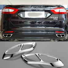 Для Ford Mondeo/Fusion Sedan 2013- Автомобильный задний двойной выхлоп глушитель наклейки крышка аксессуары для обивки из нержавеющей стали