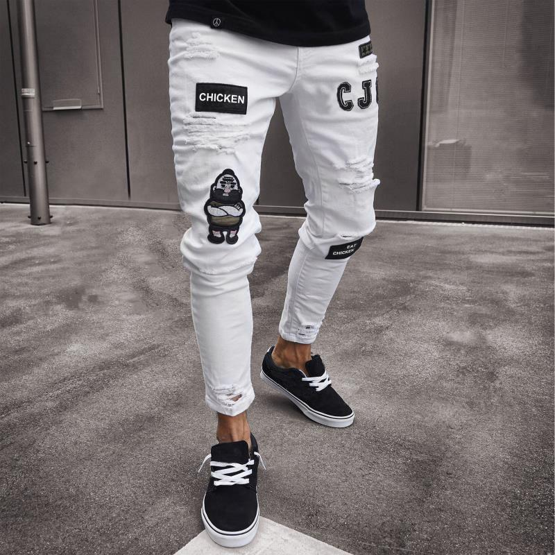 Mens Casual Straight Jeans Retro Slim Skinny Jeans Fashion Ripped Men Hip Blue Denim Pants
