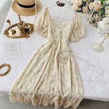 Foamlina женское винтажное стильное цветочное кружевное платье летняя мода с круглым вырезом с коротким пышным рукавом с высокой талией повседневное вечернее платье