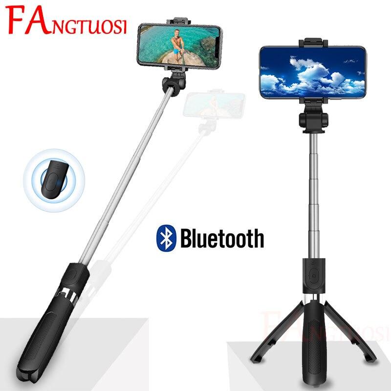 FANGTUOSI 3 em 1 Sem Fio bluetooth Selfie Vara Extensível Monopé Universal Mini Tripé Com Controle Remoto Sem Fio Para iPhone Huawei