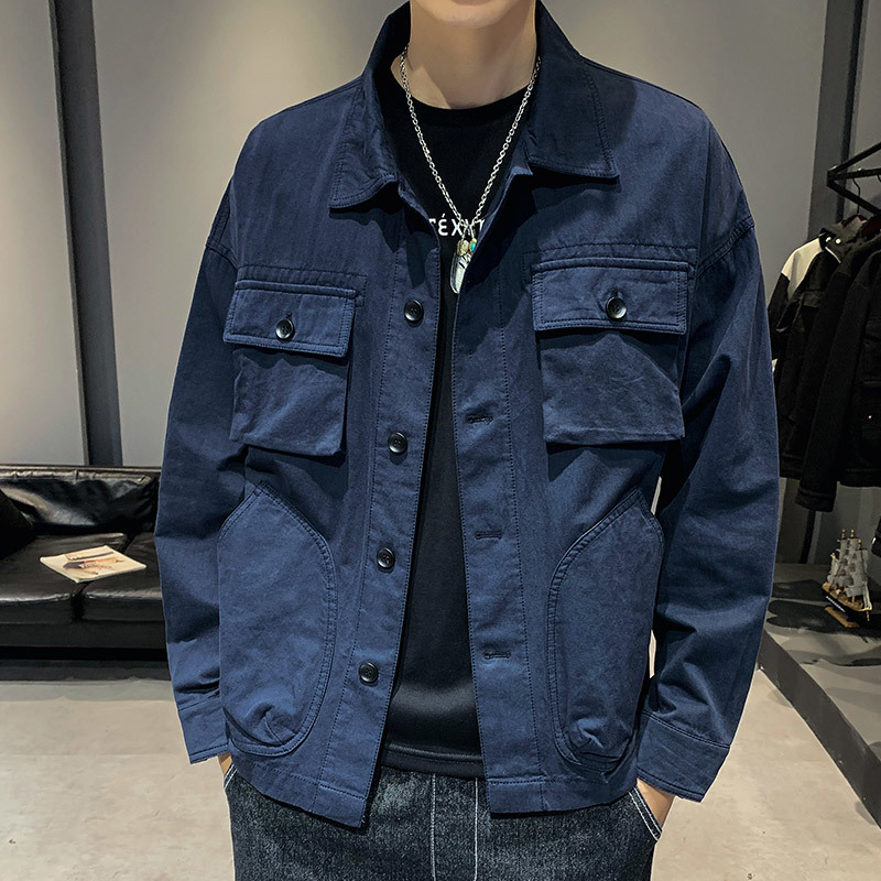 Thin Jacket Streetwear Autumn Casual Men Fashion Cotton New Solid Tooling Loose