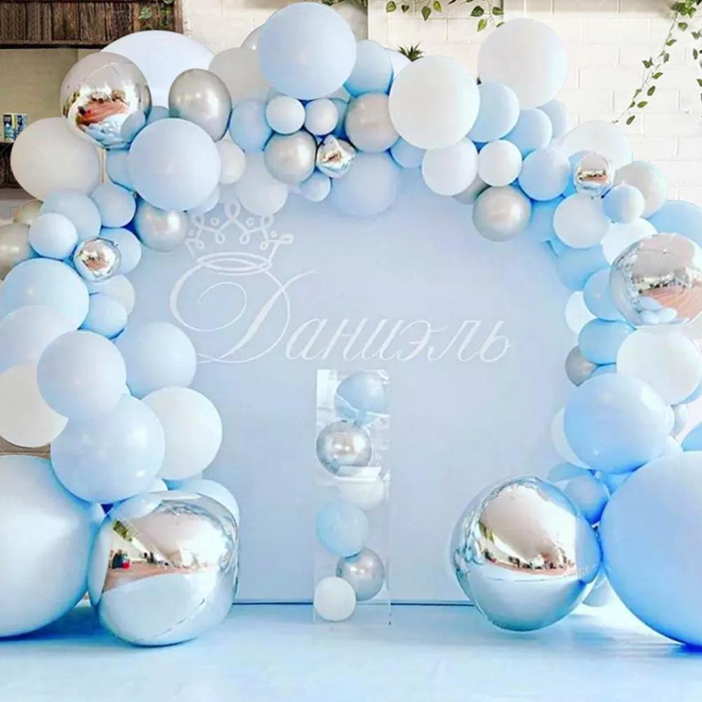 141 шт, синего и серебряного цвета Macaron металлический шар гирлянды арка для праздника вечерние Фольга Balons Свадебные Baby Shower День рождения вече...