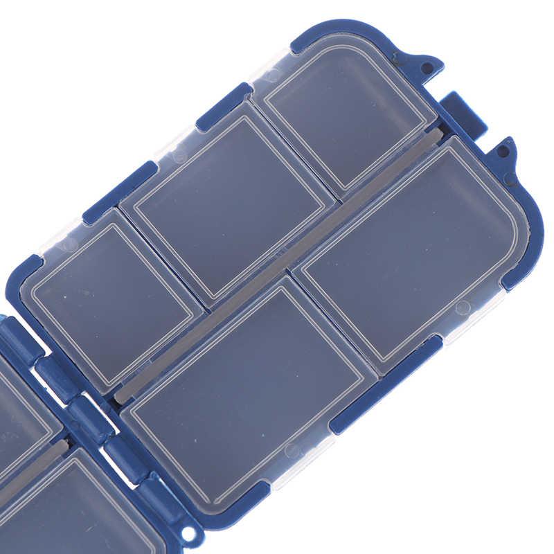 10 ช่อง Mini Fishing Tackle กล่องเหยื่อปลาเหยื่อเหยื่อผู้ถือพลาสติกสแควร์กรณี Pesca ตกปลาอุปกรณ์เสริม