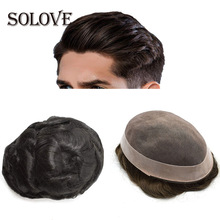 Mens Toupee Human-Hair-Replacement-Systems Wig Mono Indian Npu Handmade 8x10inch Pure