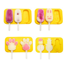 Silicone household popsicle mold Double connected ice cream