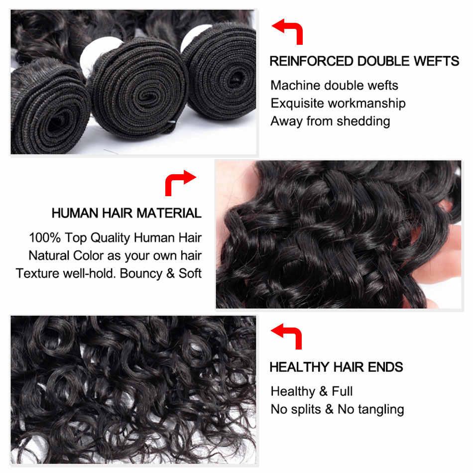 Bling cabelo brasileiro onda de água pacotes de cabelo com fechamento 13x4 rendas frontal remy pacotes de cabelo humano com 4x4 5x5 fechamento do laço