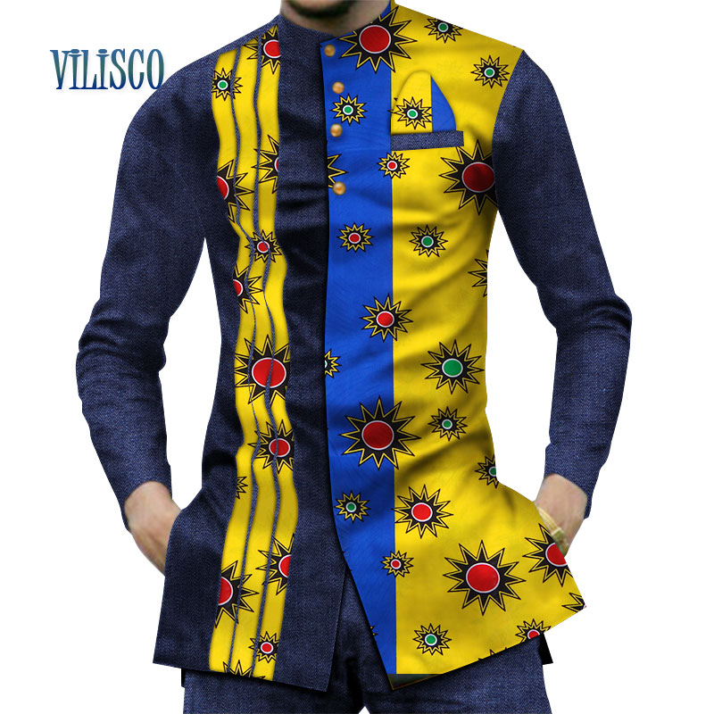 2019 Casual 100% Cotton Mens African Clothing Dashiki Patchwork Print Shirt Tops Bazin Riche Traditional African Clothes WYN380