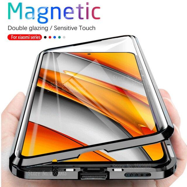 360 ° מגנטי Flip מקרה עבור Xiaomi POCO F3 POCOPHONE F3 pocof3 קטן poxo f 3 3f דו צדדי זכוכית מתכת פגוש טלפון כיסוי