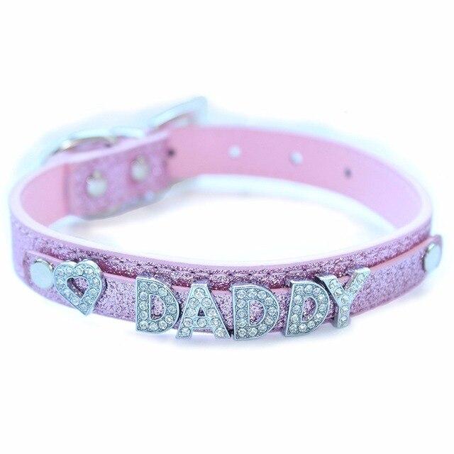 Ddlg submissive bdsm fetish kinky CUSTOM wording rhinestone pink leather bracelet
