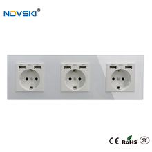 EU Schuko Multi USB Plug Wall Crystal Glass Panel Power Socket Grounded, 16A Quadruple Electrical Socket White, 5 Years Warranty