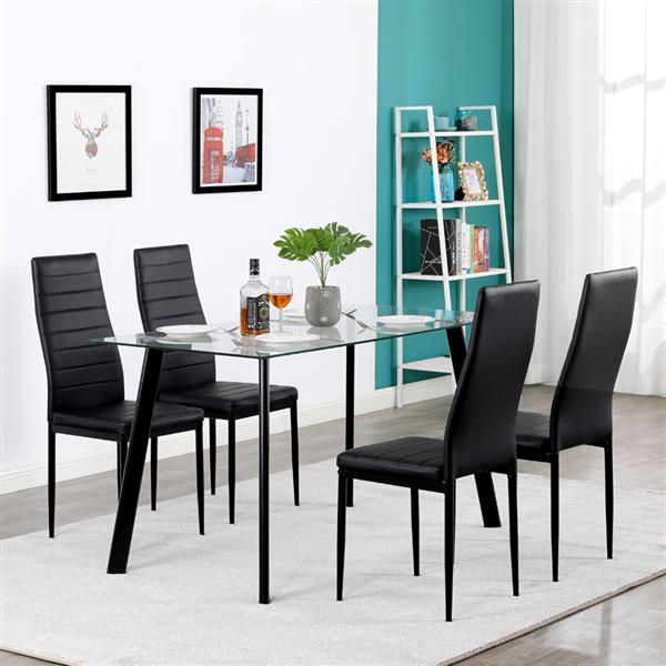 Black 5PCS 8mm High Quality Tempered Glass Dining Table Set 4 High Quality Leather Chairs Kitchen Room Furniture