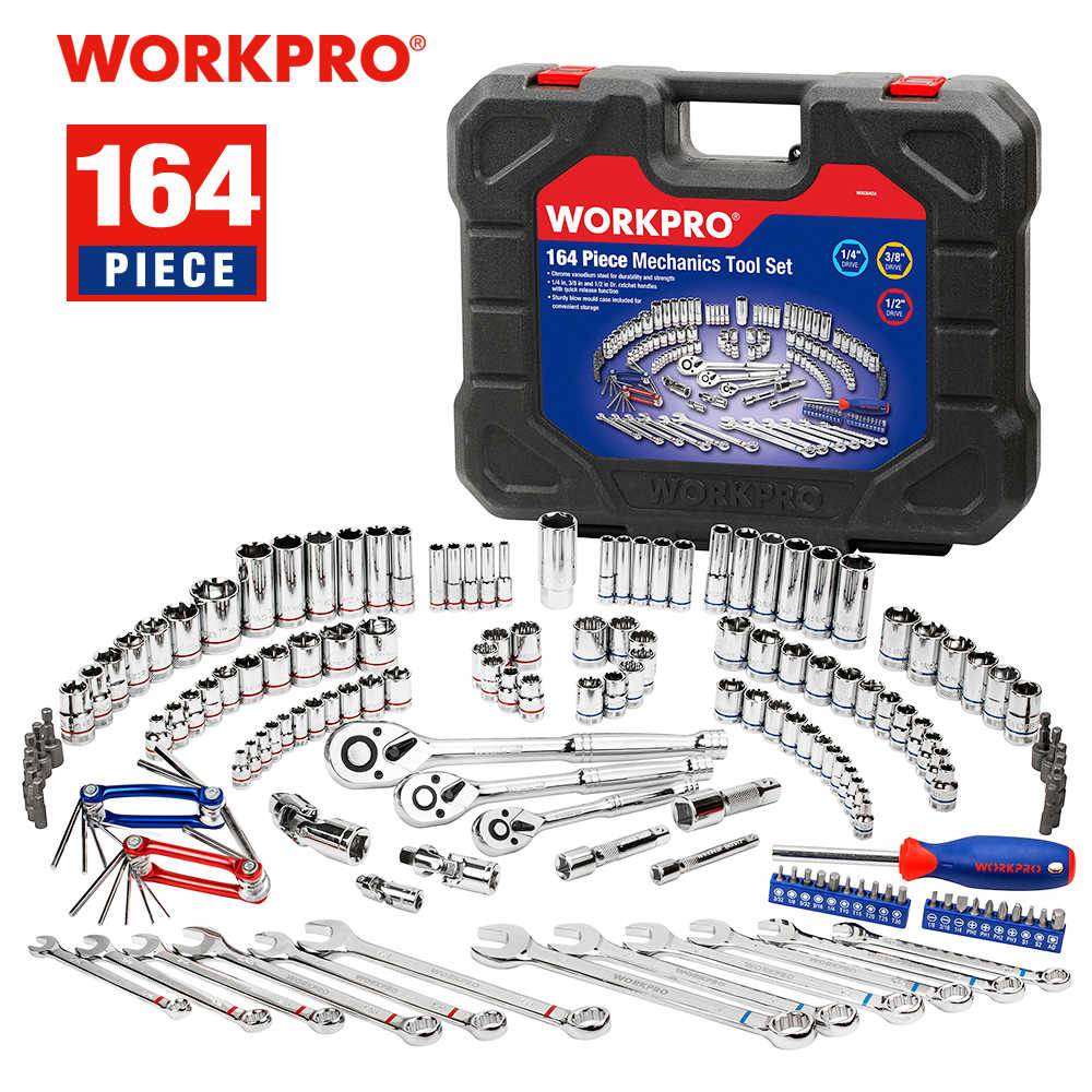 WORKPRO 164PC כלי סט לרכב מכונאי כלי Socket סט ברגים מחגר ברגים סט