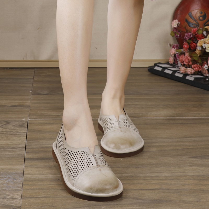 Women Leather Flats Gray Low Heels Summer Loafers For Women Casual Shoes Soft Genuine Leather Embroidery Flats Women Lazy Shoes