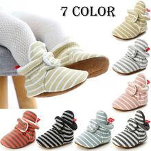 Полосатая обувь для новорожденных; удобная обувь на мягкой подошве; Нескользящие тапочки для малышей