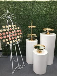 DIY Wedding backdrops Cylinder Pedestal Display Art Decor Plinths Pillar Mirror Cake Stand Set Cupcake Dessert Display Tray Rack