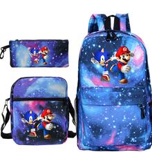 3 sztuk zestaw Sonic plecak Mario drukowanie podróży płótnie torby na notes szkolny plecak dla nastolatków chłopców dziewcząt tanie tanio Płótno Tłoczenie Unisex Miękka 20-35 litr Wnętrze slot kieszeń Wnętrza przedziału Miękki uchwyt NONE zipper Łukowaty pasek na ramię