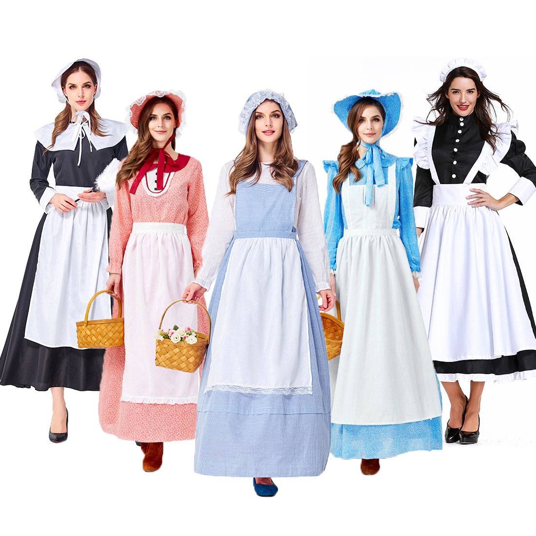 Umorden Adult Colonial Pioneer Girl Costume Women Village Farm Prairie Maiden Maid Costumes Halloween Party Fancy Dress
