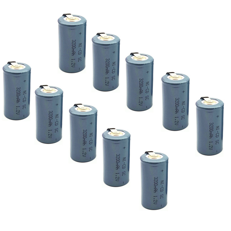 12PCS 3200mah rechargeable battery sub c battery SC 3200mah 1.2v battery replacement <font><b>1.2</b></font> <font><b>v</b></font> with tab image